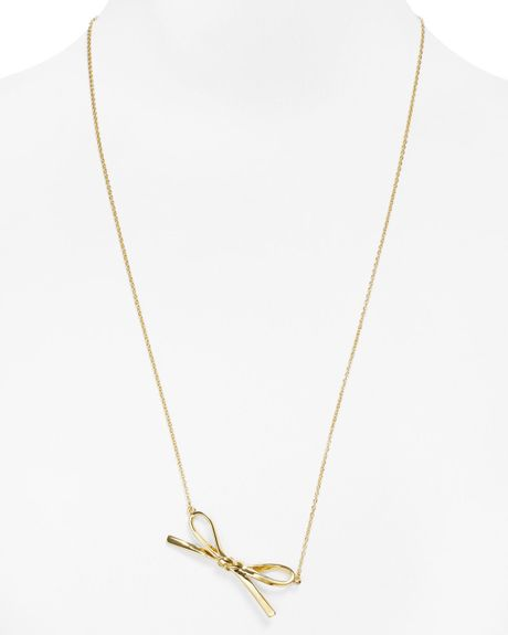 Kate Spade Pearl Bow Necklace: Kate Spade Skinny Mini Bow Necklace 28 In Gold