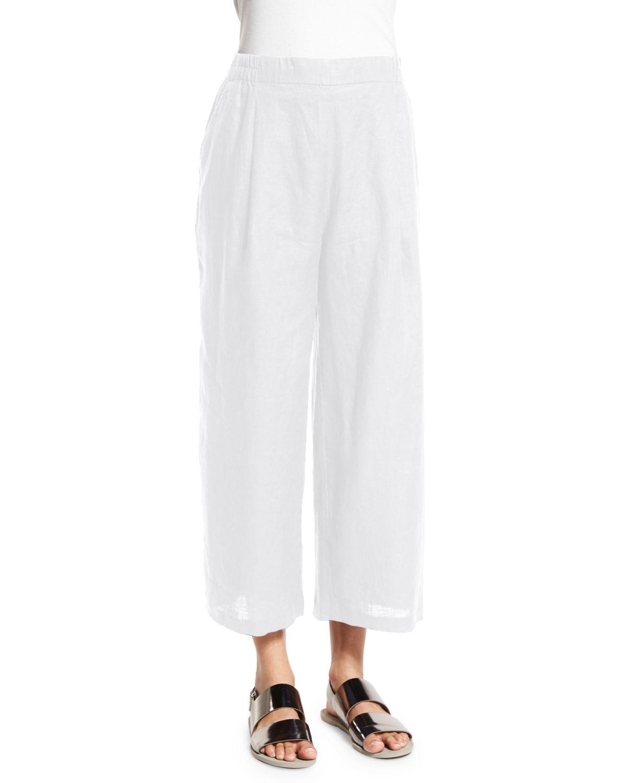 Lyst Eileen Fisher Organic Linen Wide Leg Cropped Pants