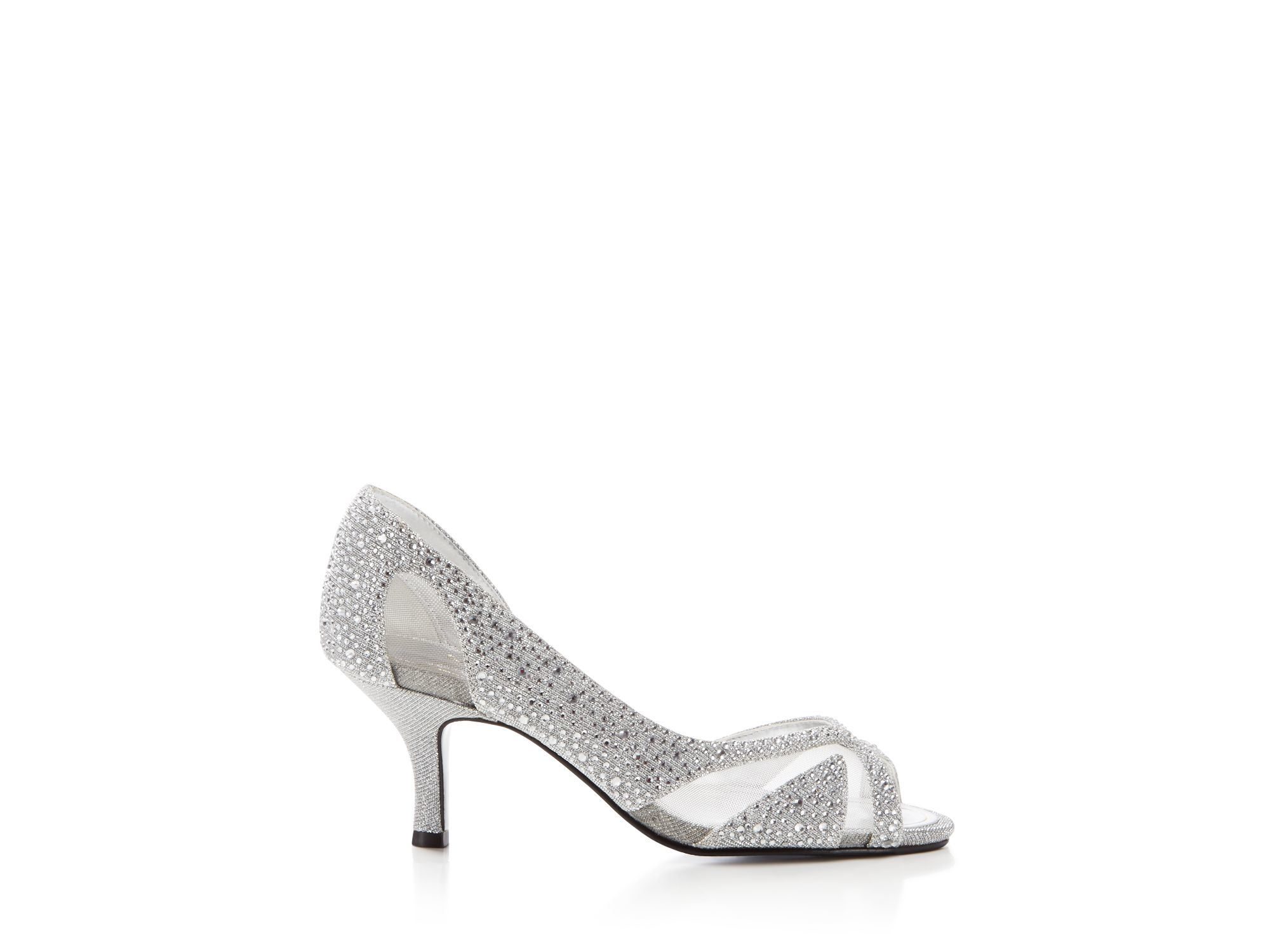Mid Heel Shoes Silver Metallic