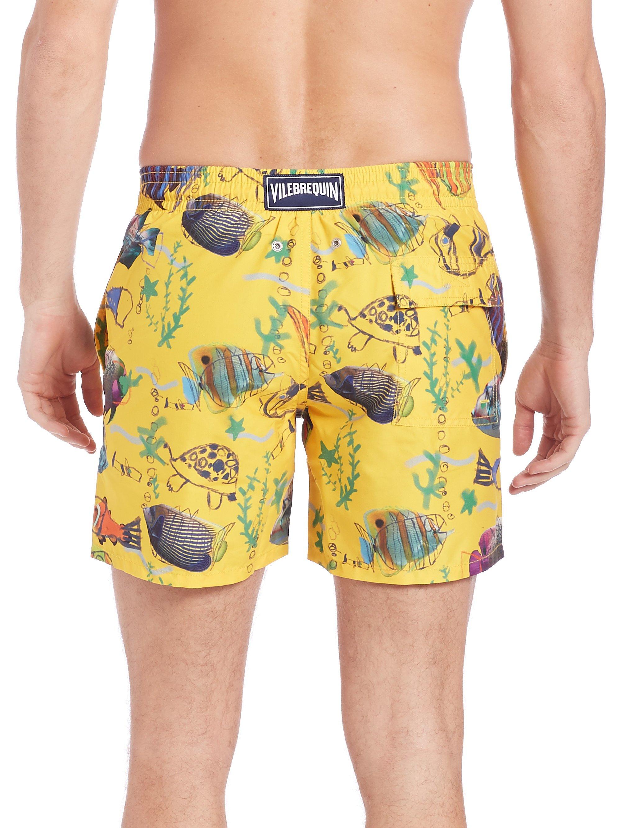 Vilebrequin moorea moon fish swim trunks in yellow for men for Fishing swim trunks