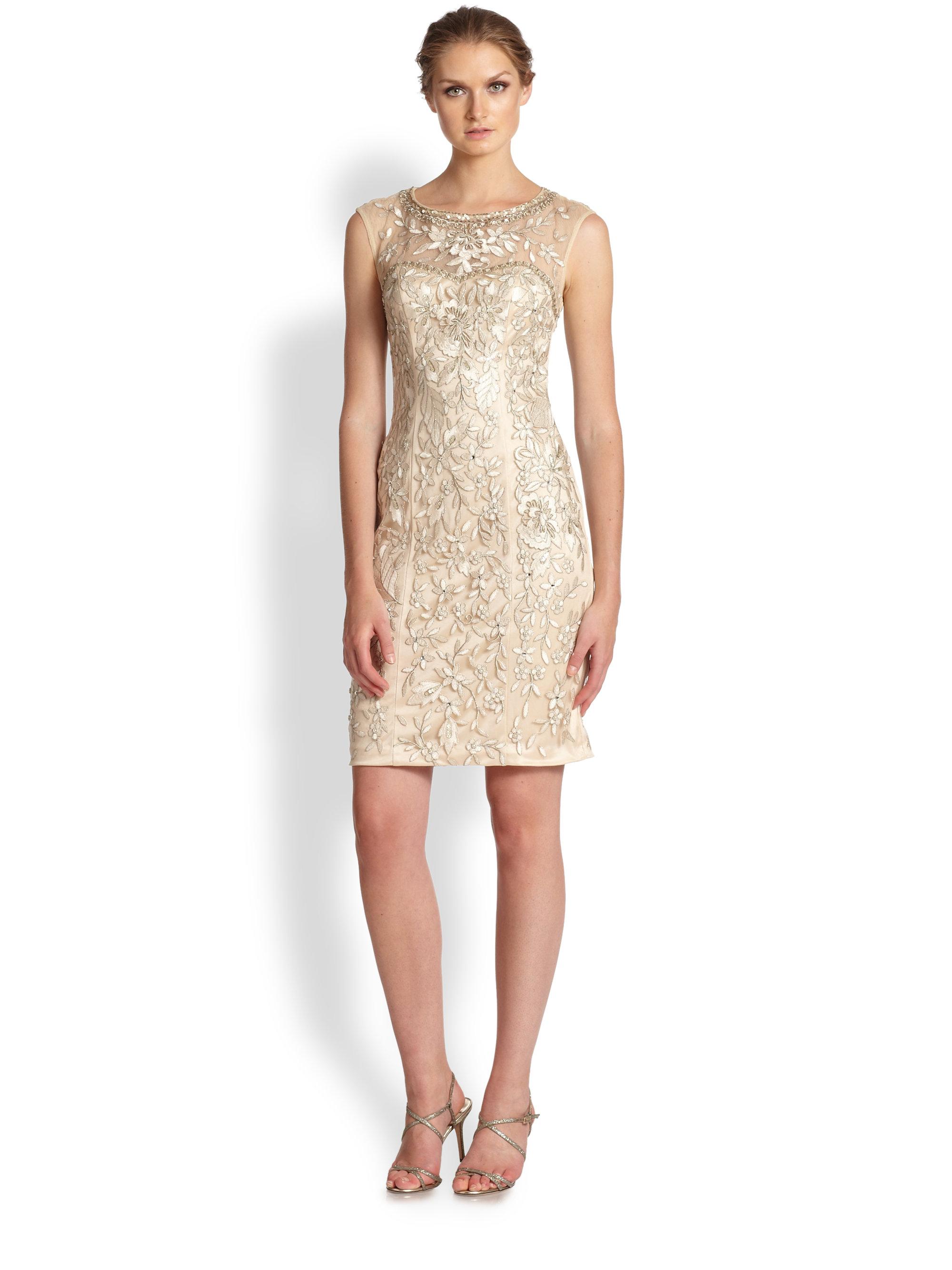 Sue wong Embellished Illusion Sheath Dress in Metallic | Lyst