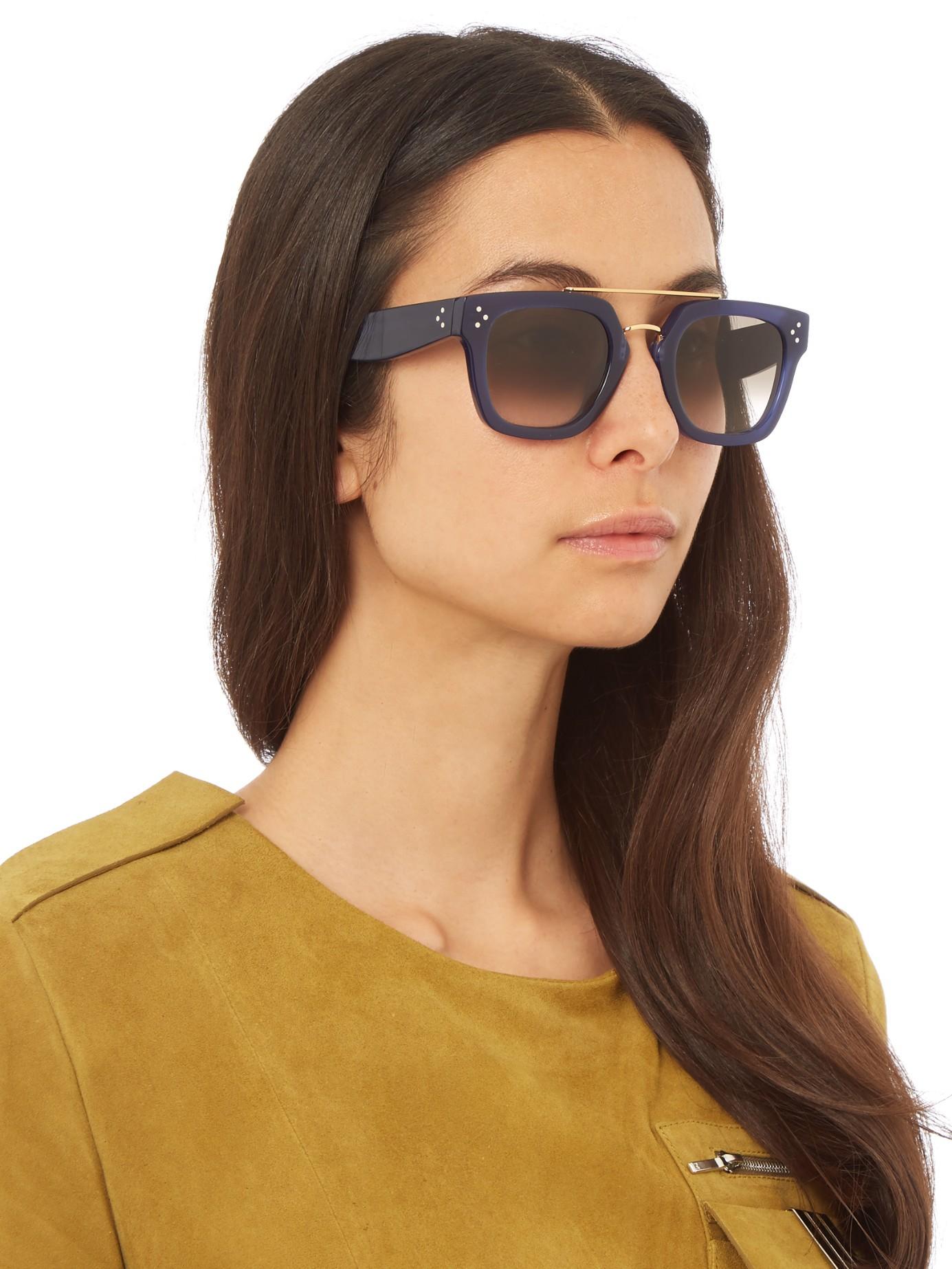Lyst - Céline Aviator Acetate Sunglasses in Blue