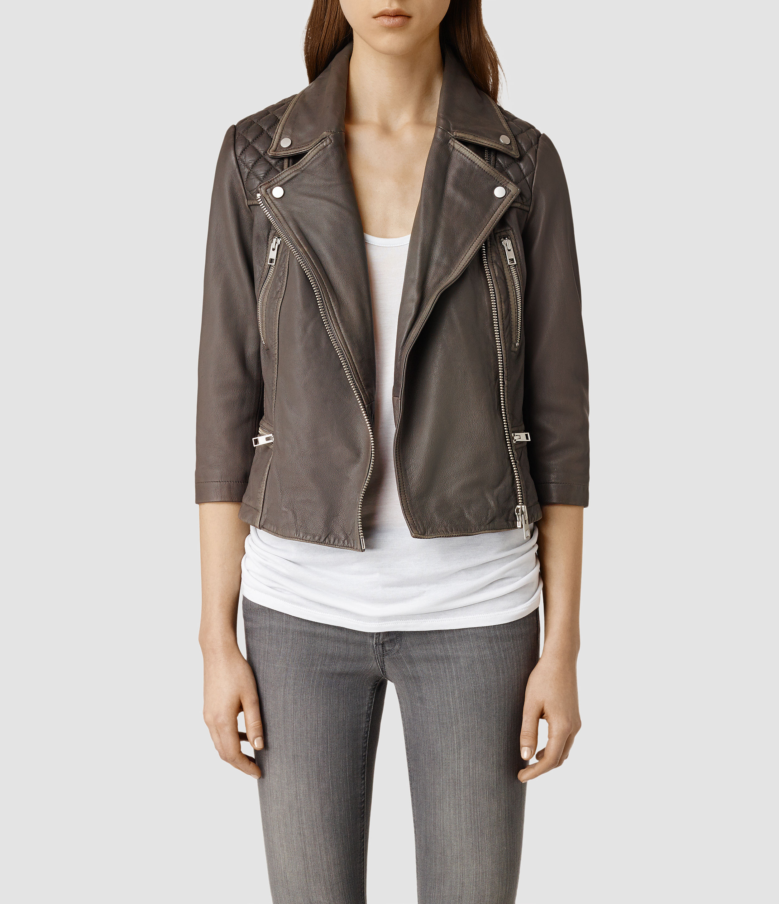 Crop leather jackets