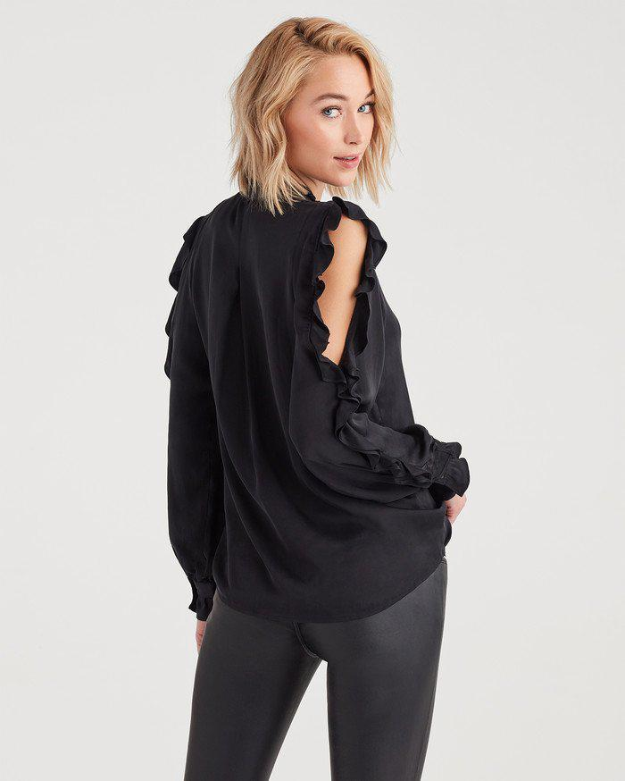 ba543c68841 Lyst - 7 For All Mankind Cold Shoulder Ruffle Top In Jet Black in Black