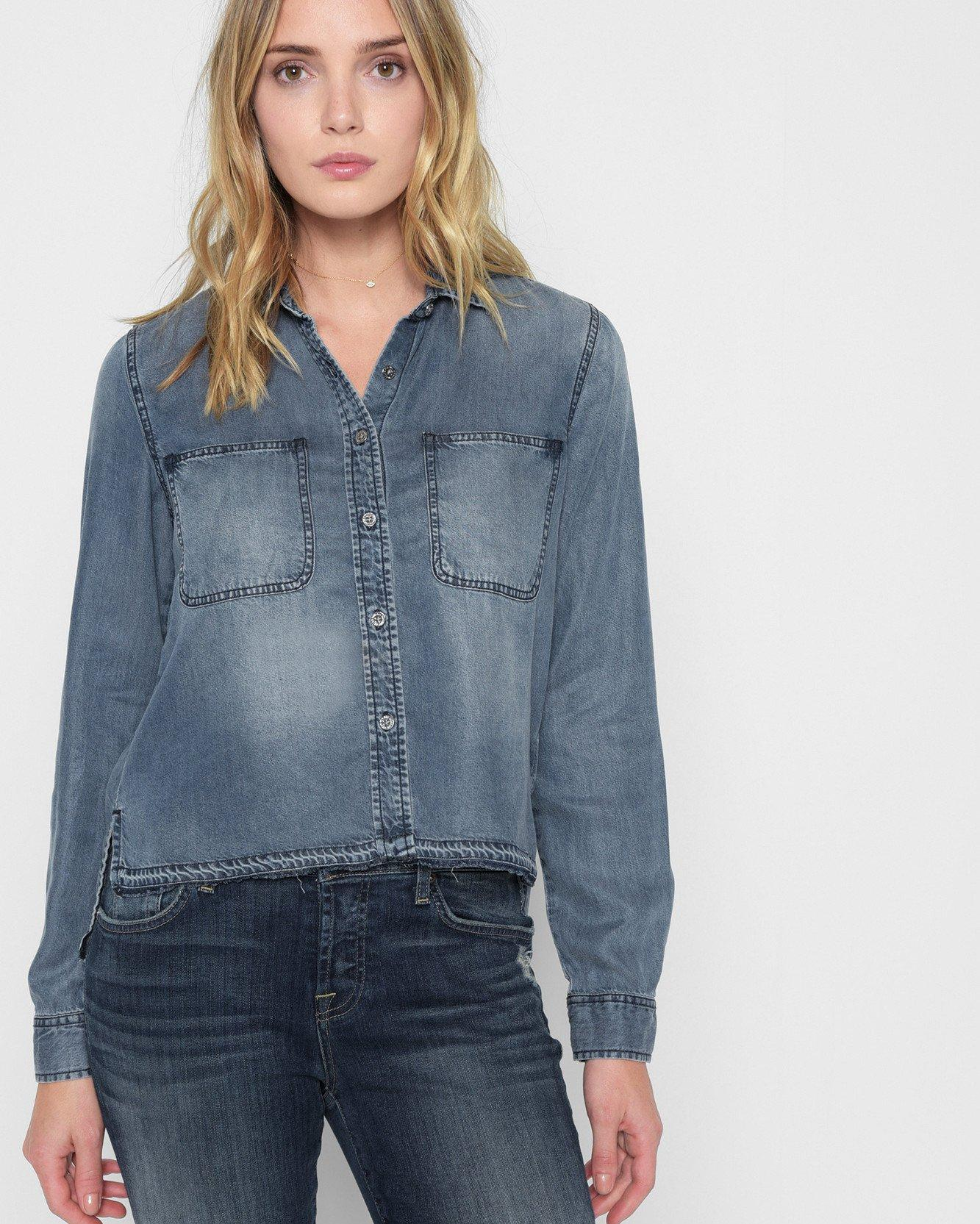 0c60a2096ca Lyst - 7 For All Mankind Step Hem Denim Shirt With Released Hem In ...