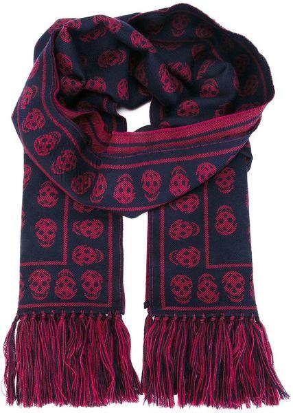 Knitting Pattern Skull Scarf : Alexander Mcqueen Skull Knit Scarf in Red for Men (BLACK) Lyst