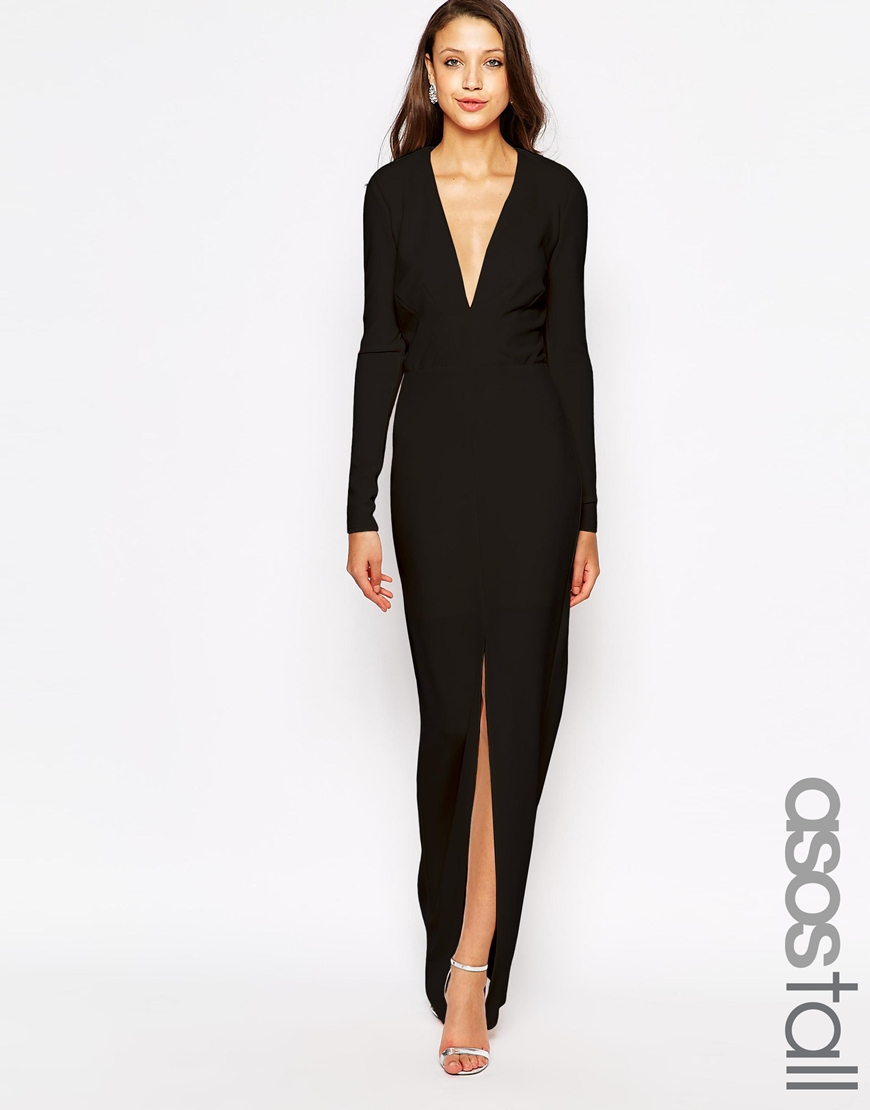 5e2b7e2eb029 Lyst - ASOS Tall Deep Plunge Maxi Dress In Crepe in Black