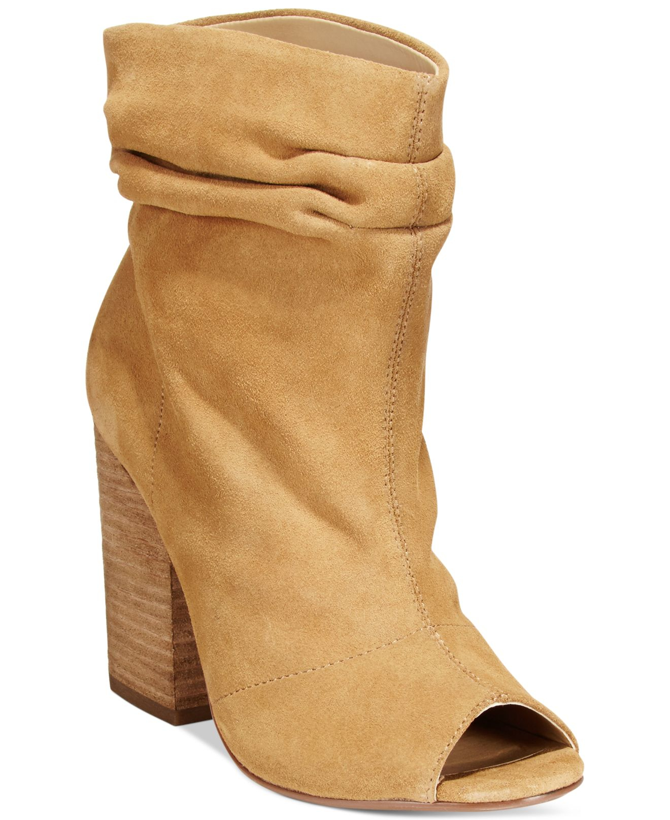 Lyst - Chinese Laundry Break Up Peep-toe Suede Slouchy Booties in ... 3a6fe179b