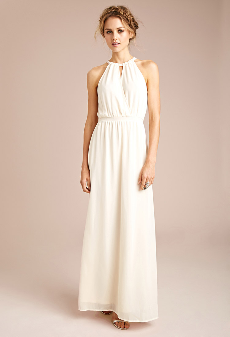 Forever 21 Chiffon Halter Maxi Dress in Natural | Lyst