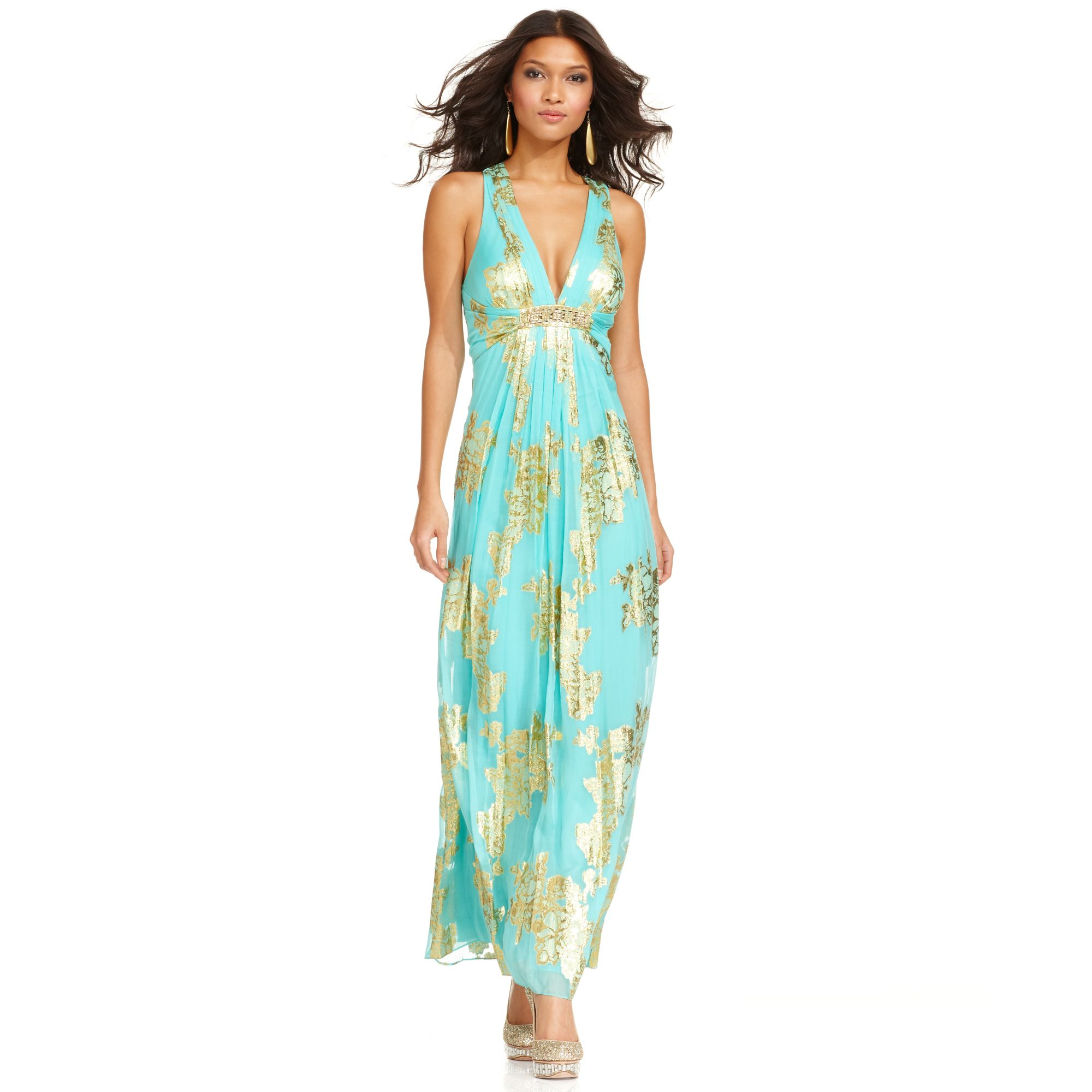 Xscape Dress Sleeveless Metallic Floral Print Pleated Gown in Green ...
