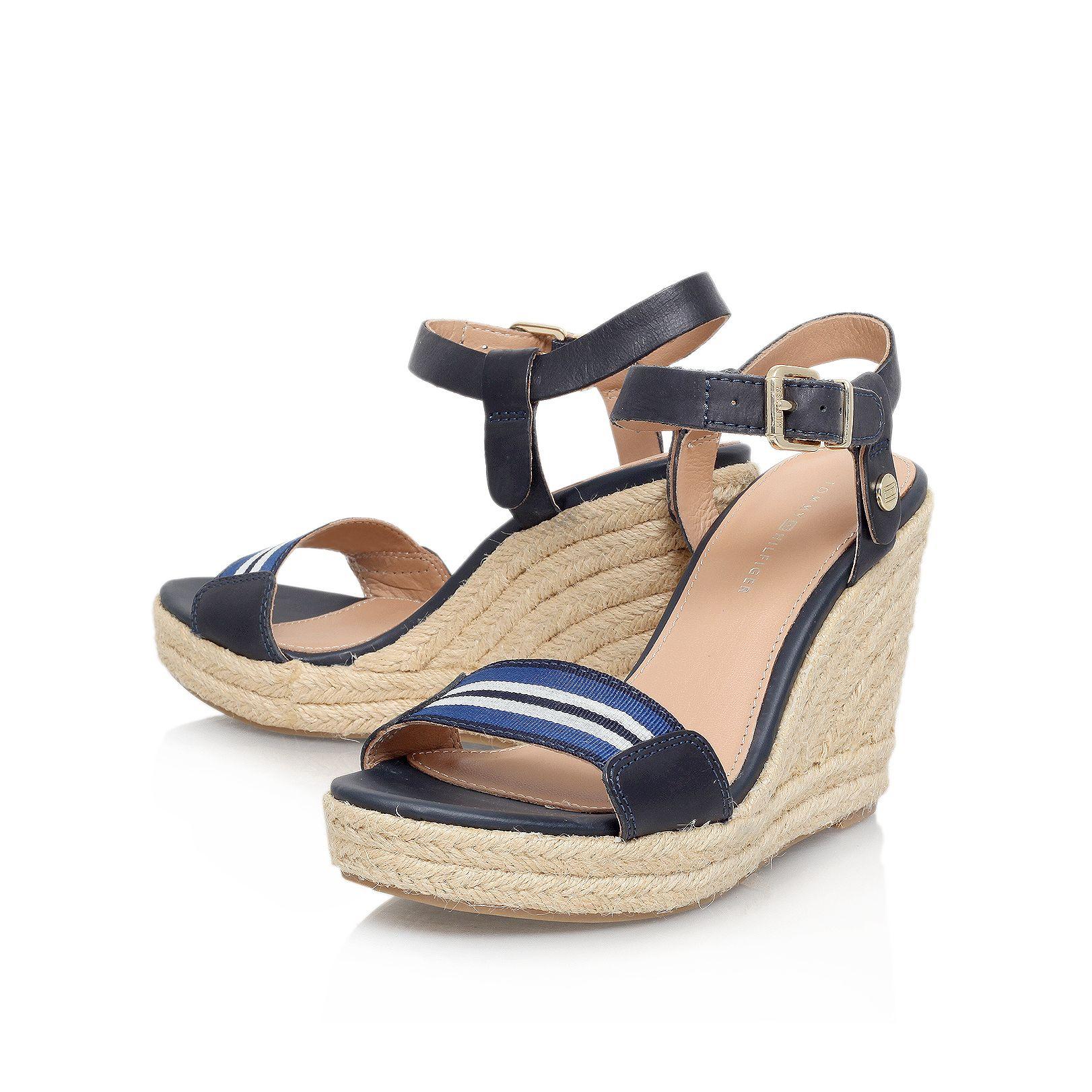 tommy hilfiger emery 87c high wedge heel sandals in blue lyst. Black Bedroom Furniture Sets. Home Design Ideas