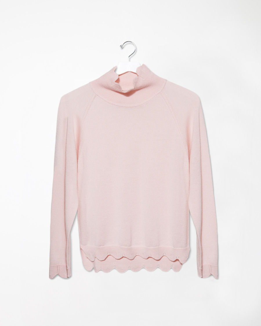 Simone rocha Scalloped Mock Neck Sweater in Pink | Lyst