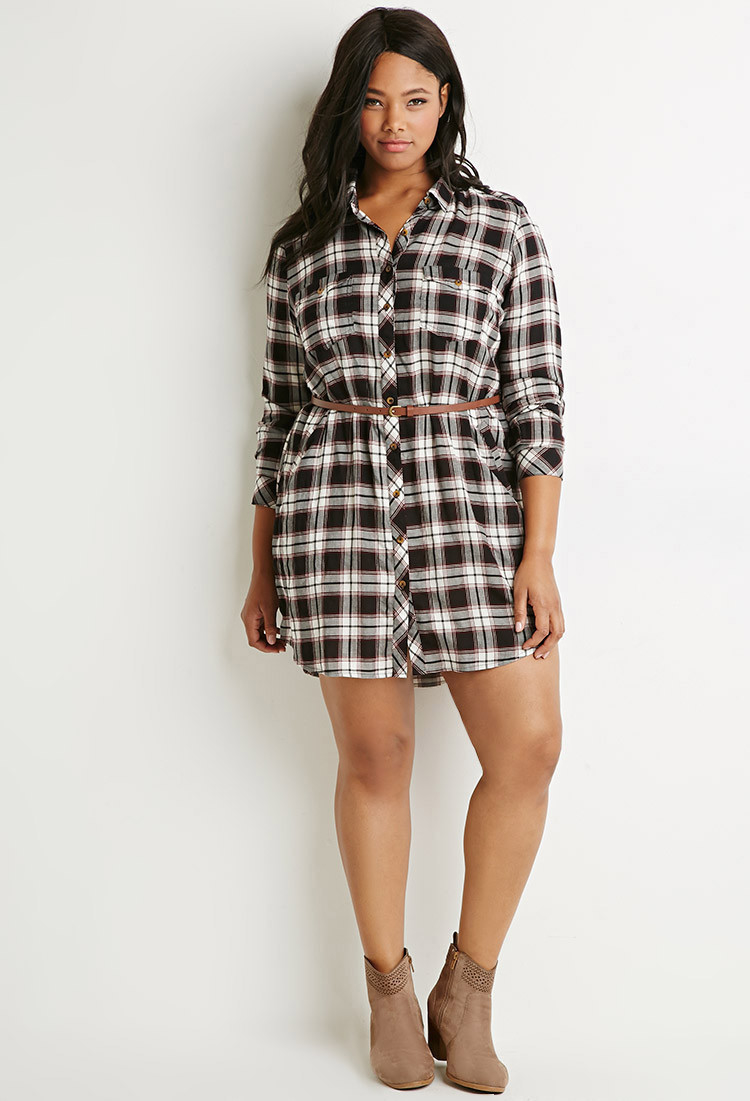 4f0a4ab2cf7 Forever 21 Plus Size Belted Plaid Shirt Dress in Black - Lyst