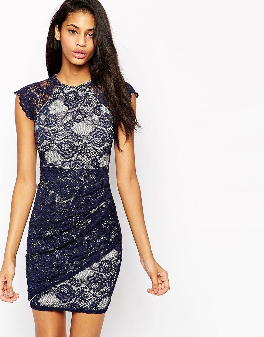 f399c1c0383 Lyst - Lipsy Scallop Lace Dress in Blue