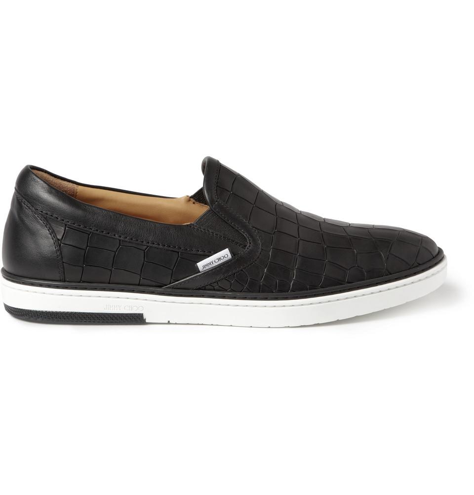 Black Grove Crocodile Embossed Leather Slip On Sneakers For Men Lyst