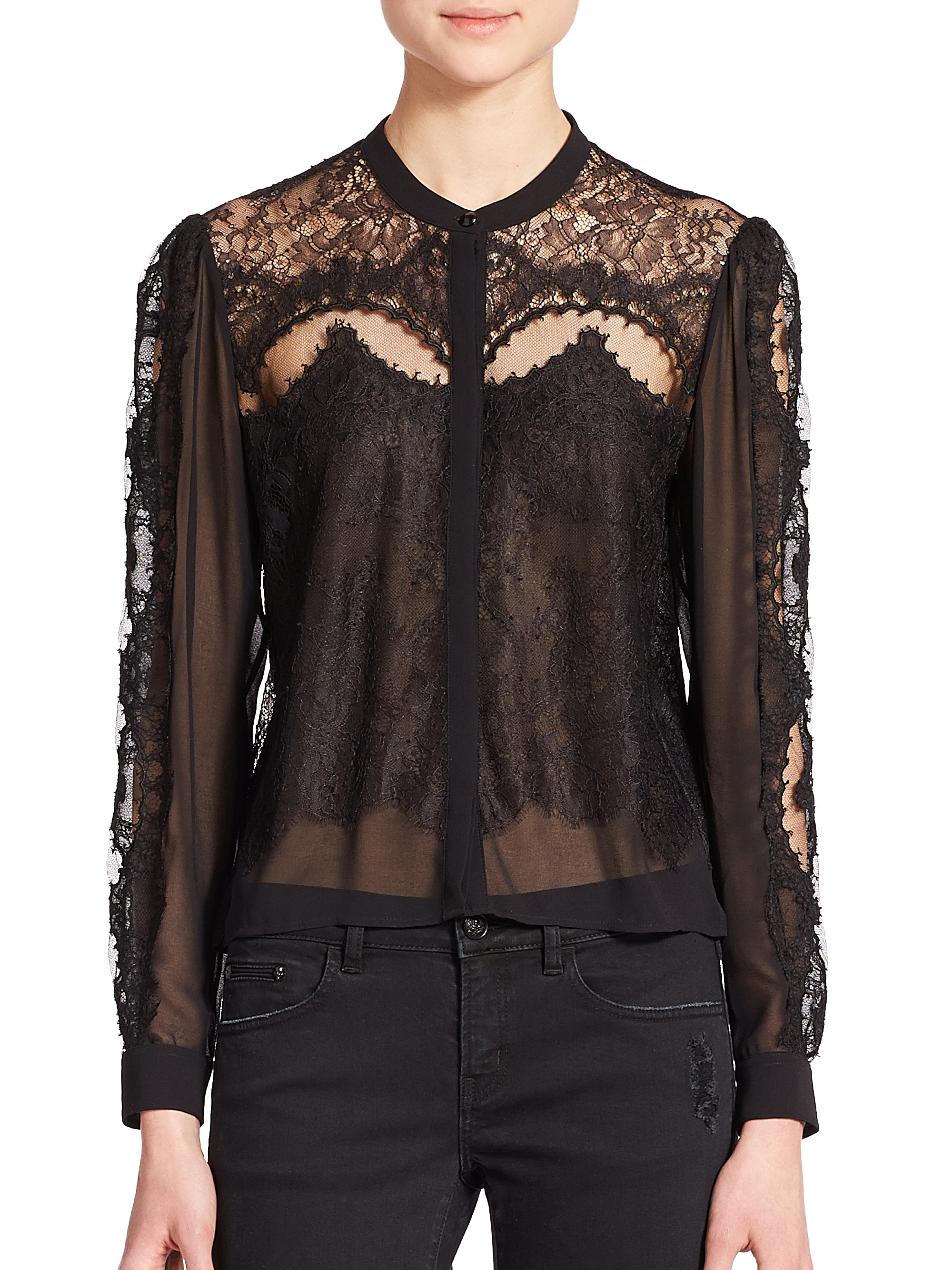 d4c58b2ae1 The Kooples Lace-panel Blouse in Black - Lyst