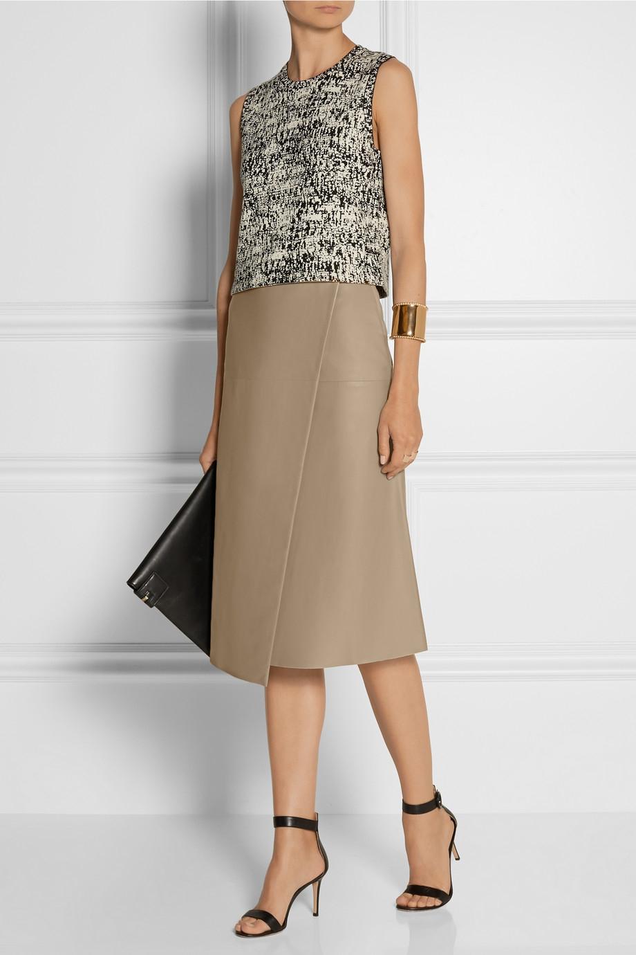 Joseph Charlene Wrap-Effect Leather Midi Skirt in Natural | Lyst