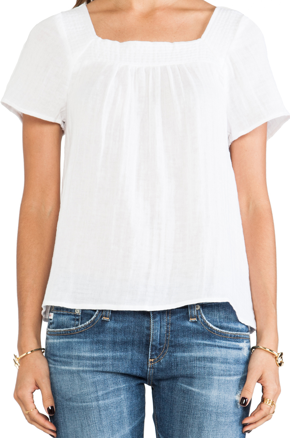 096bc3ab91776 Lyst - Michael Stars Short Sleeve Square Neck Blouse in White