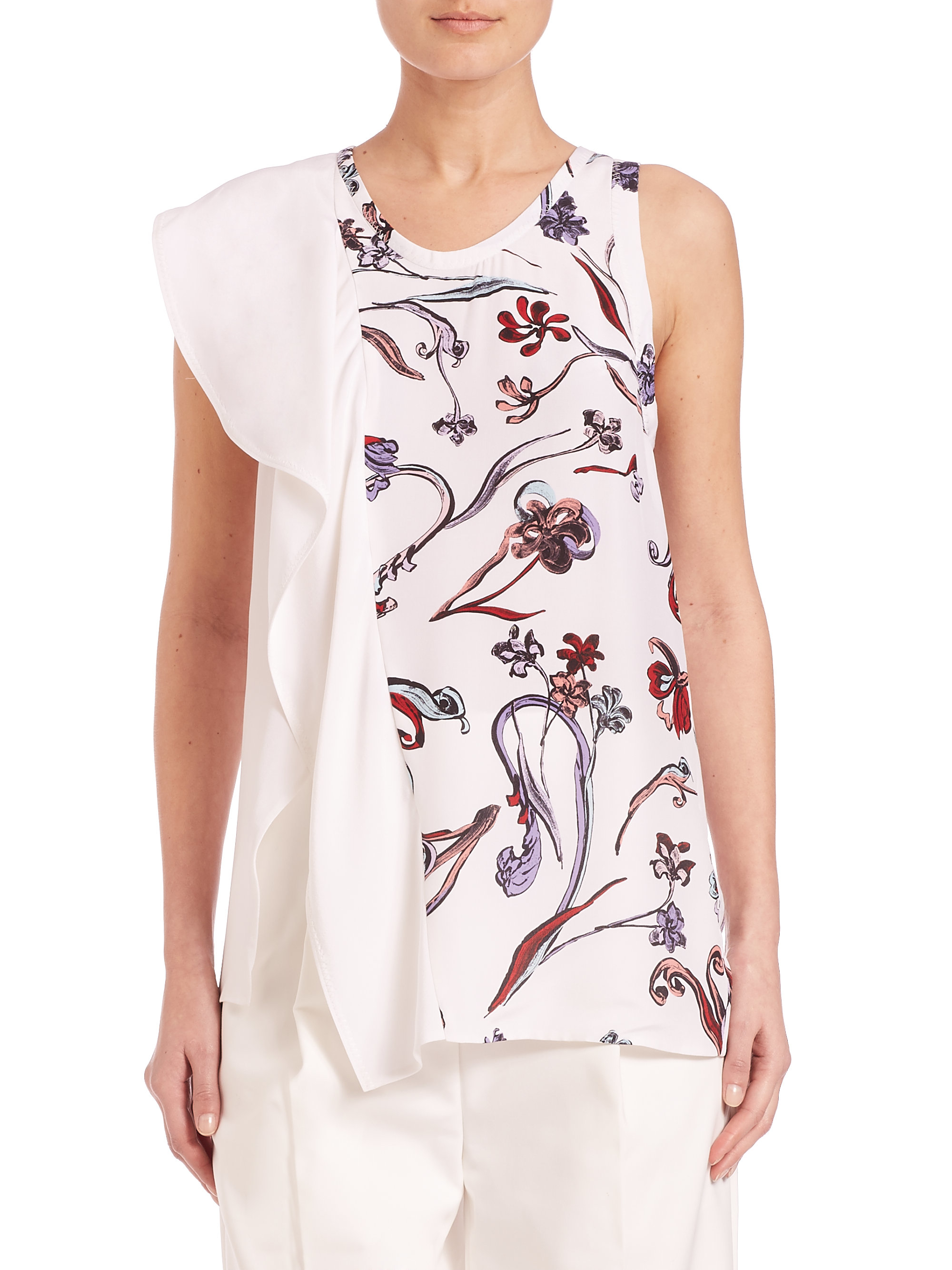 2eaa5898e4933 Lyst - 3.1 Phillip Lim Silk Ruffle-detail Printed Top in White