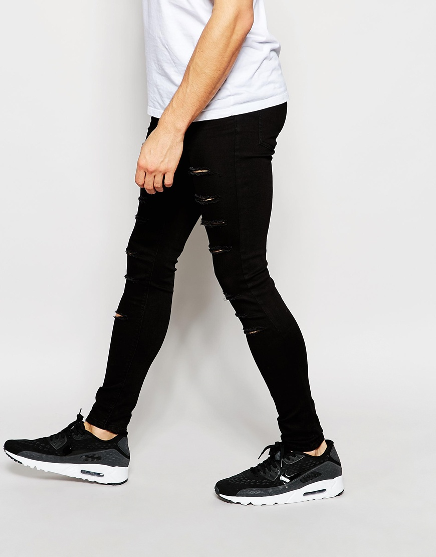 Asos mens skinny slim fit jeans black