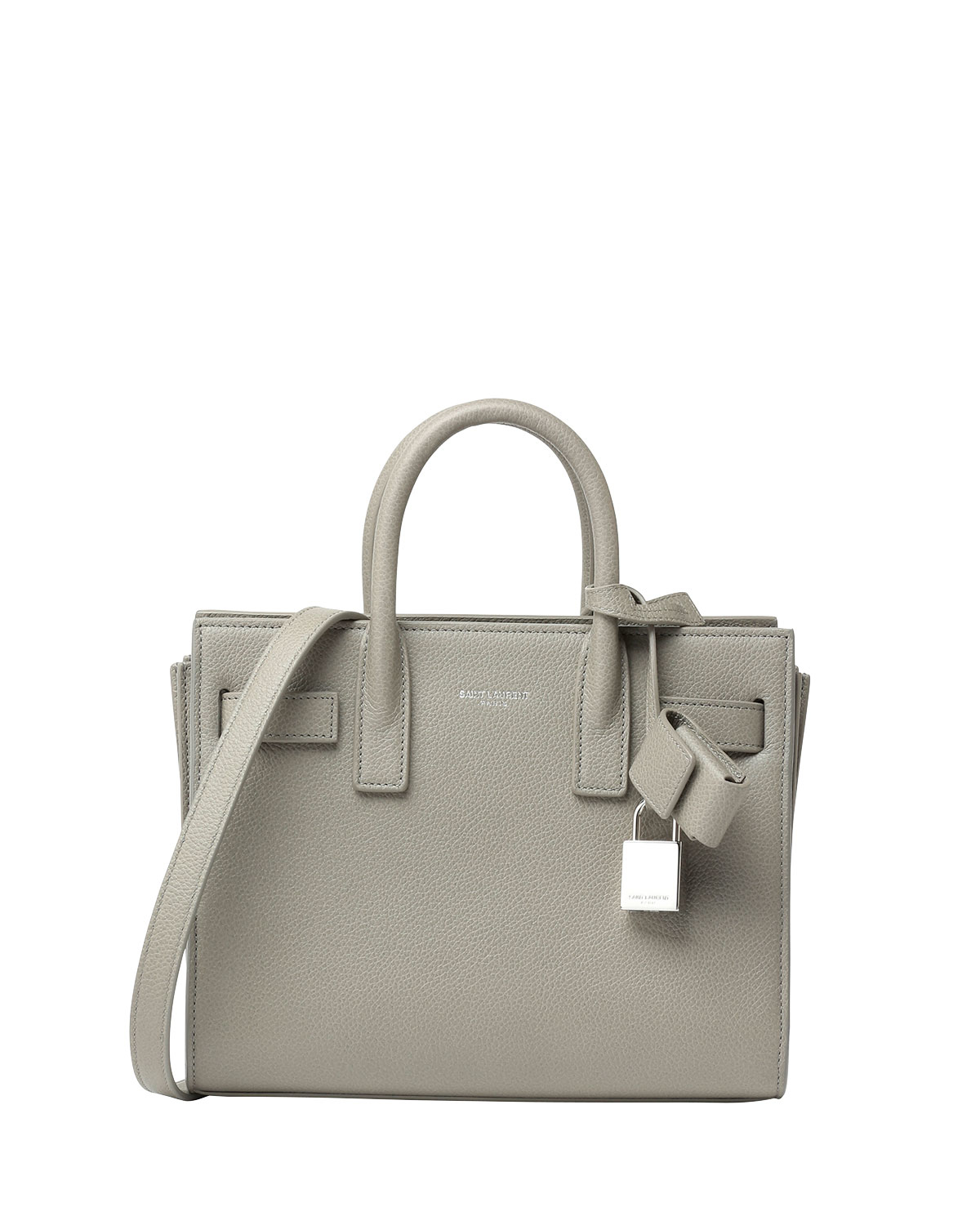 saint laurent sac de jour small grain leather tote bag in gray lyst. Black Bedroom Furniture Sets. Home Design Ideas