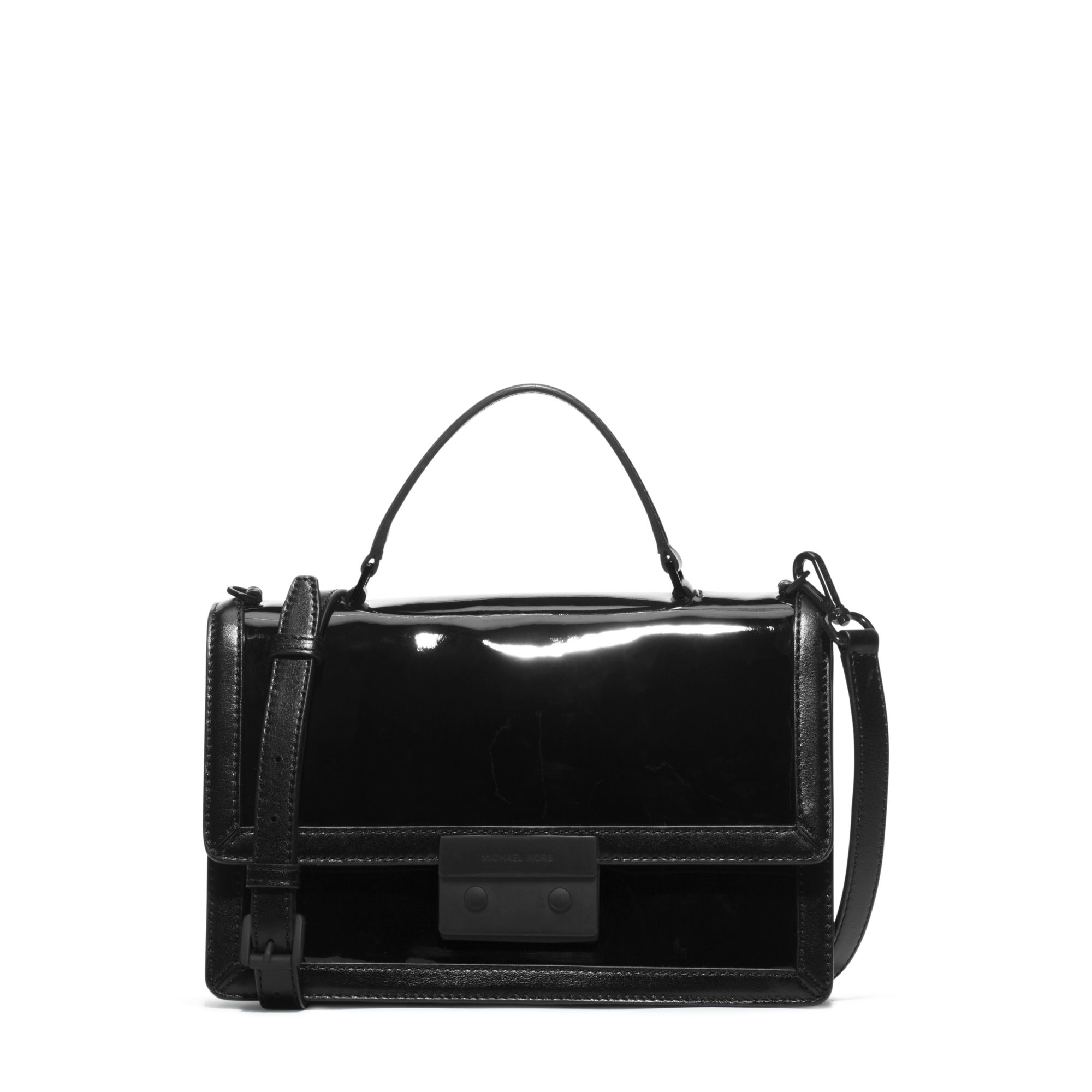 Lyst - Michael Kors Callie Patent-leather Messenger in Black a052fd12e
