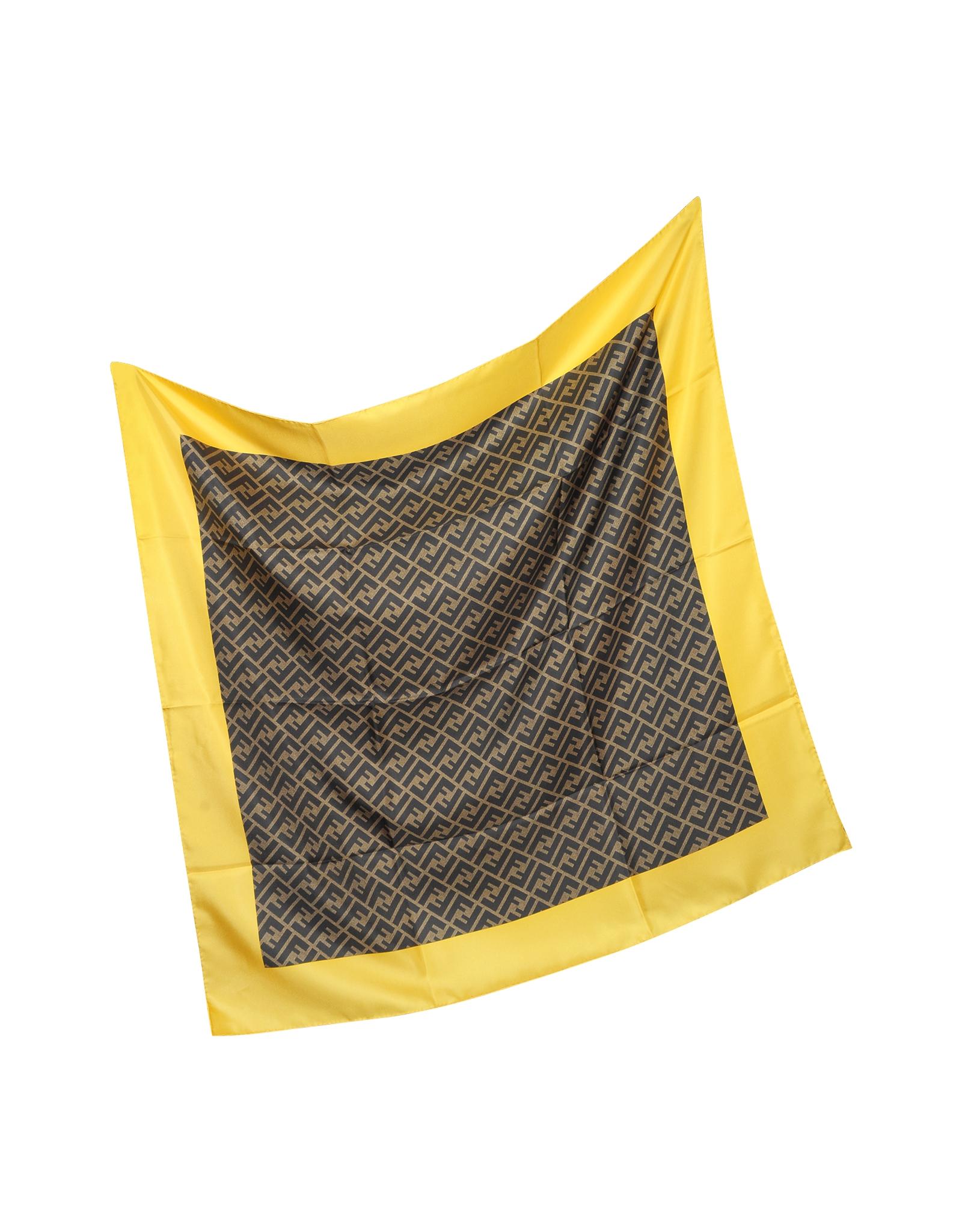 fendi zucca logo twill silk square scarf in yellow ocher