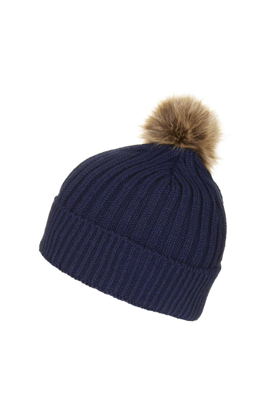 Lyst - TOPSHOP Faux-fur Pom Beanie in Blue 97763c4722e