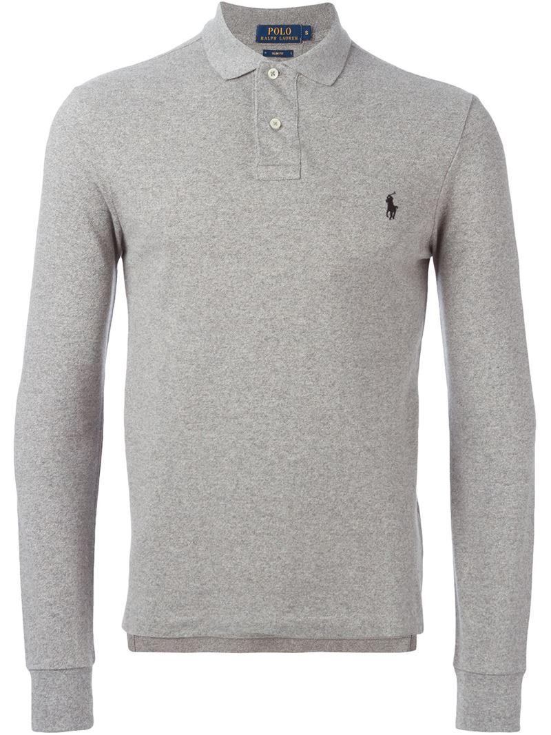 Lyst Polo Ralph Lauren Long Sleeve Polo Shirt In Gray For Men