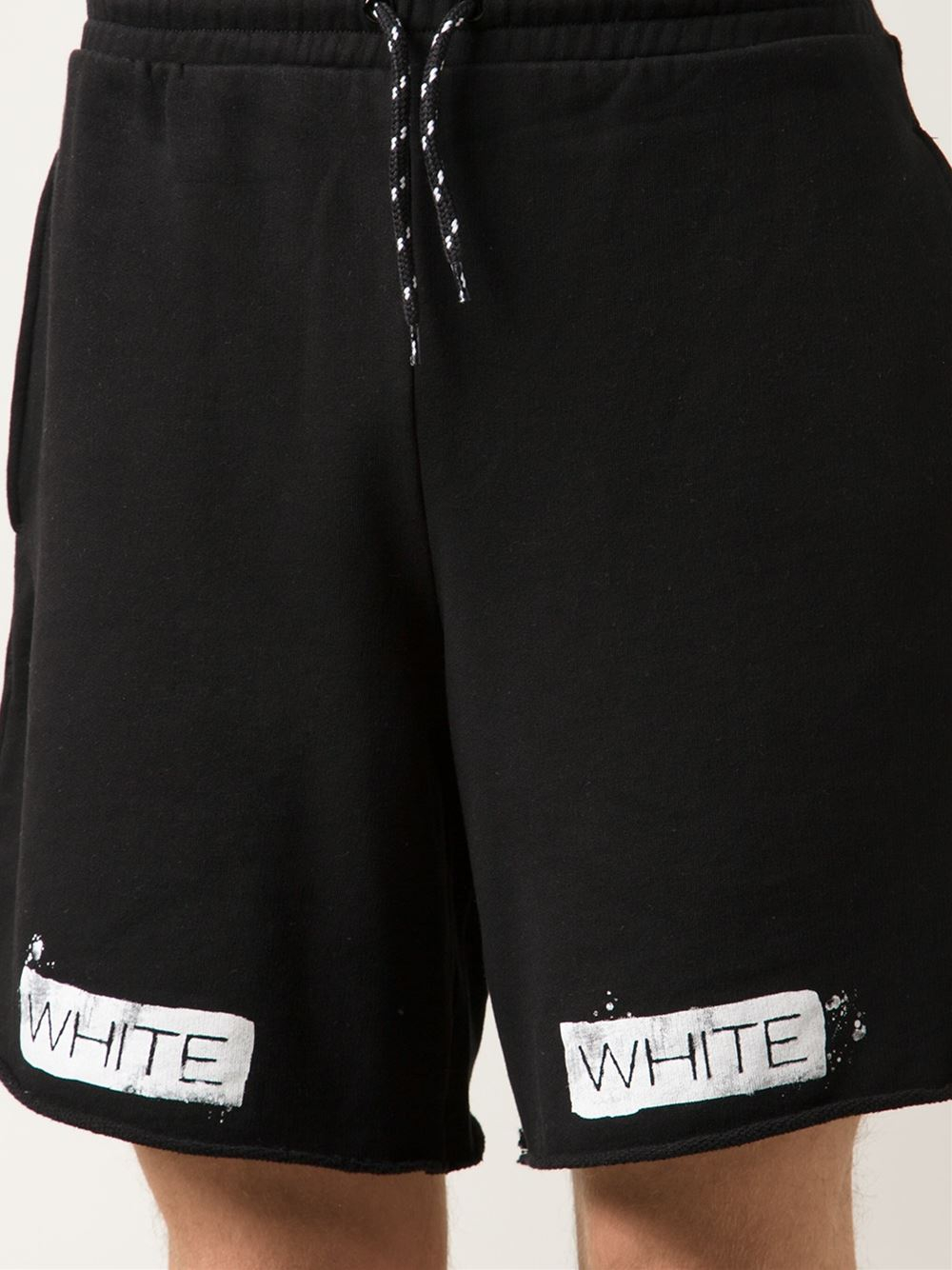 Off-white c/o virgil abloh Striped Cotton Shorts in Black ...
