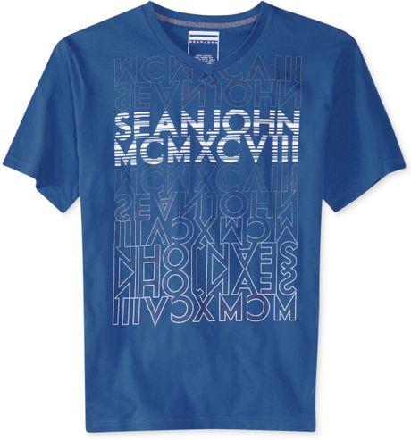 Sean john big and tall broadway blueshirts t shirt in blue for Sean john t shirts for mens
