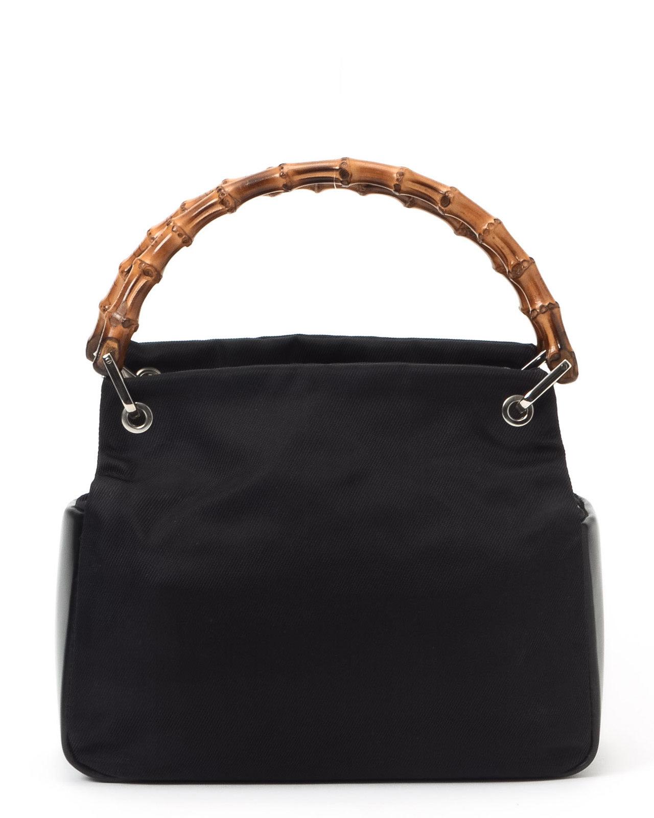 gucci black bamboo handbag in black lyst