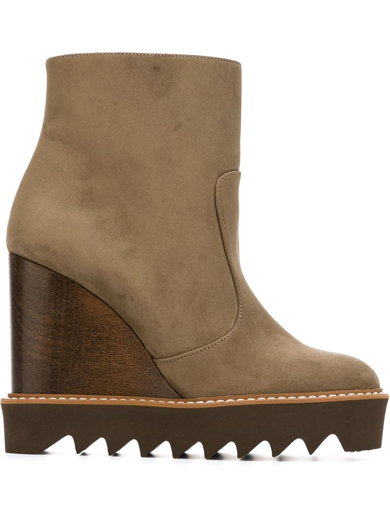 stella mccartney wedge boots in lyst