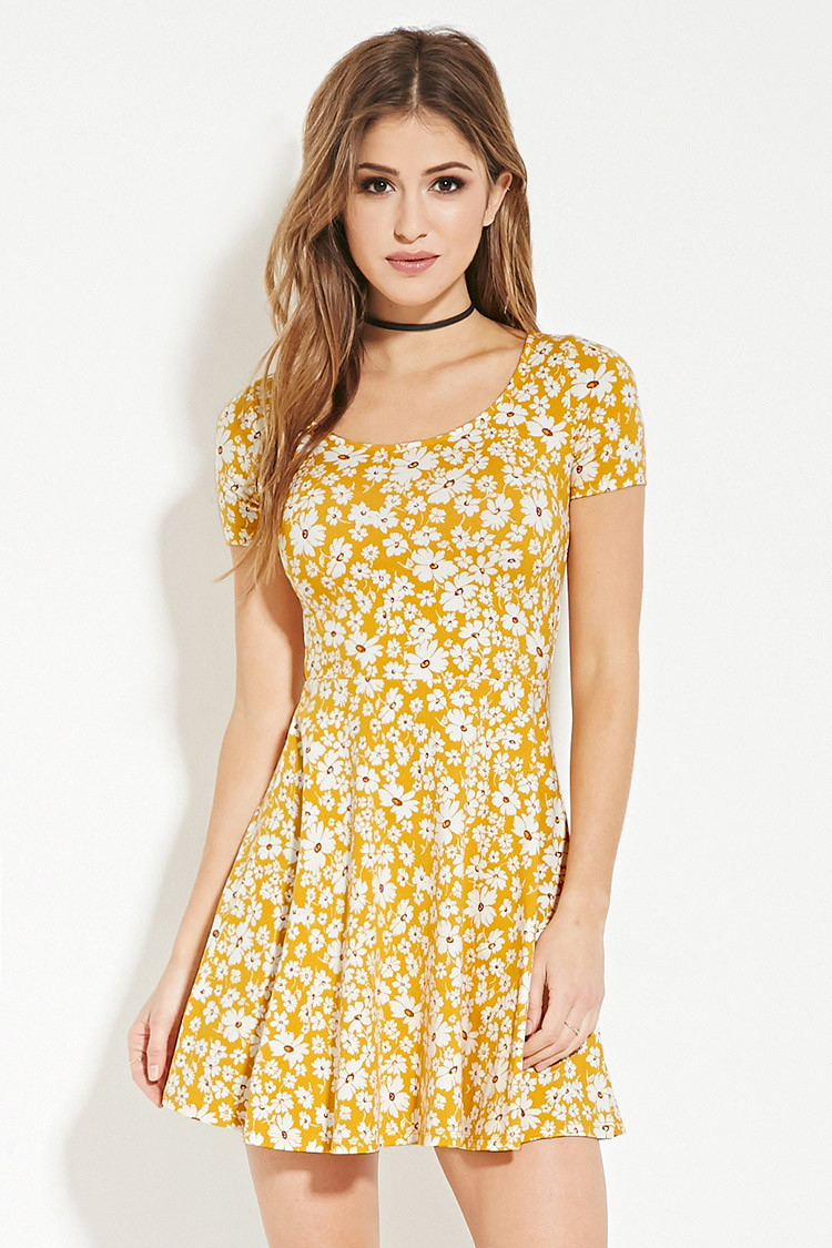 47e7a9346678 Forever 21 Floral Print Skater Dress in Yellow - Lyst