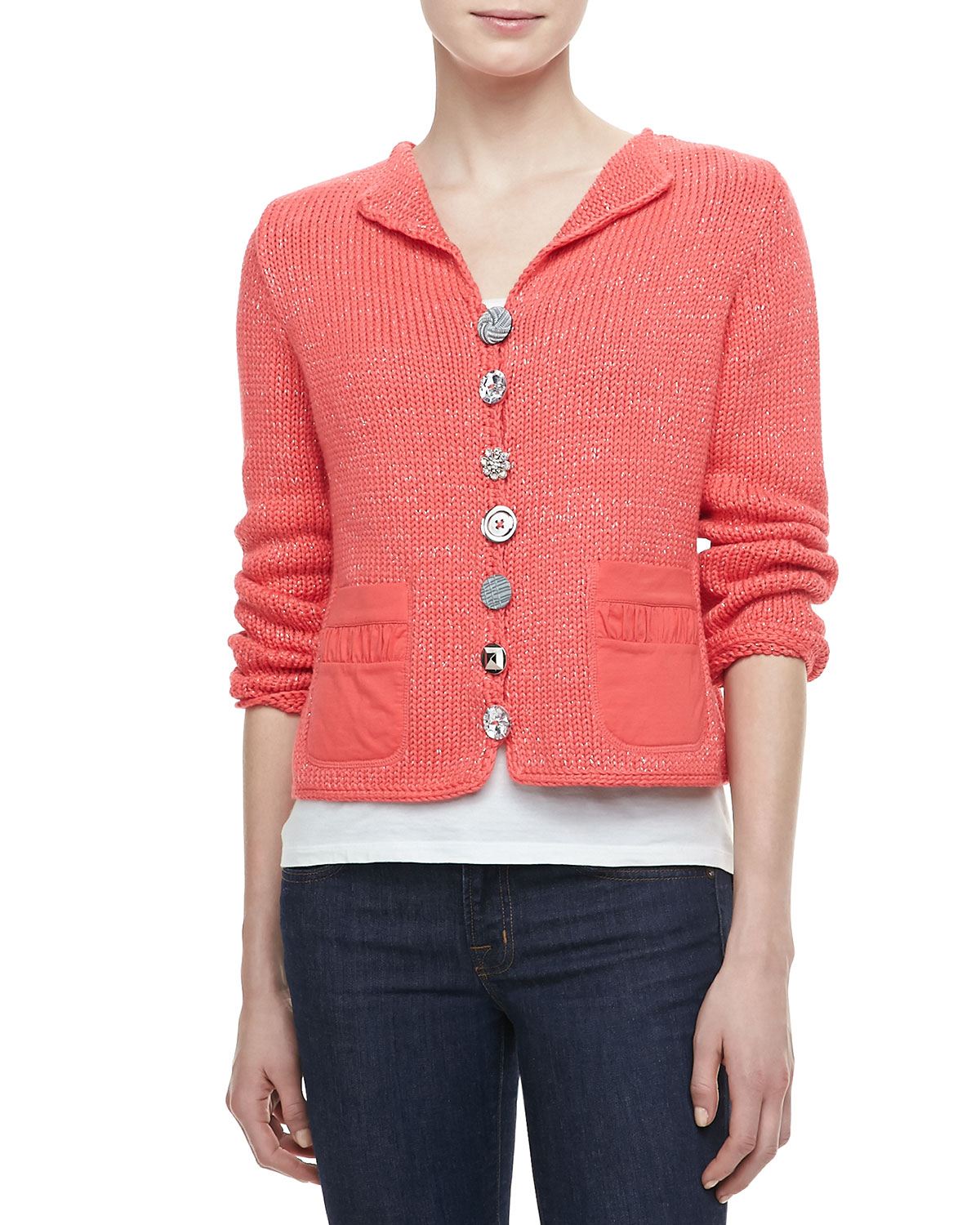 Lyst - Pure Handknit Bay Breeze Multi-Button Cardigan in ...