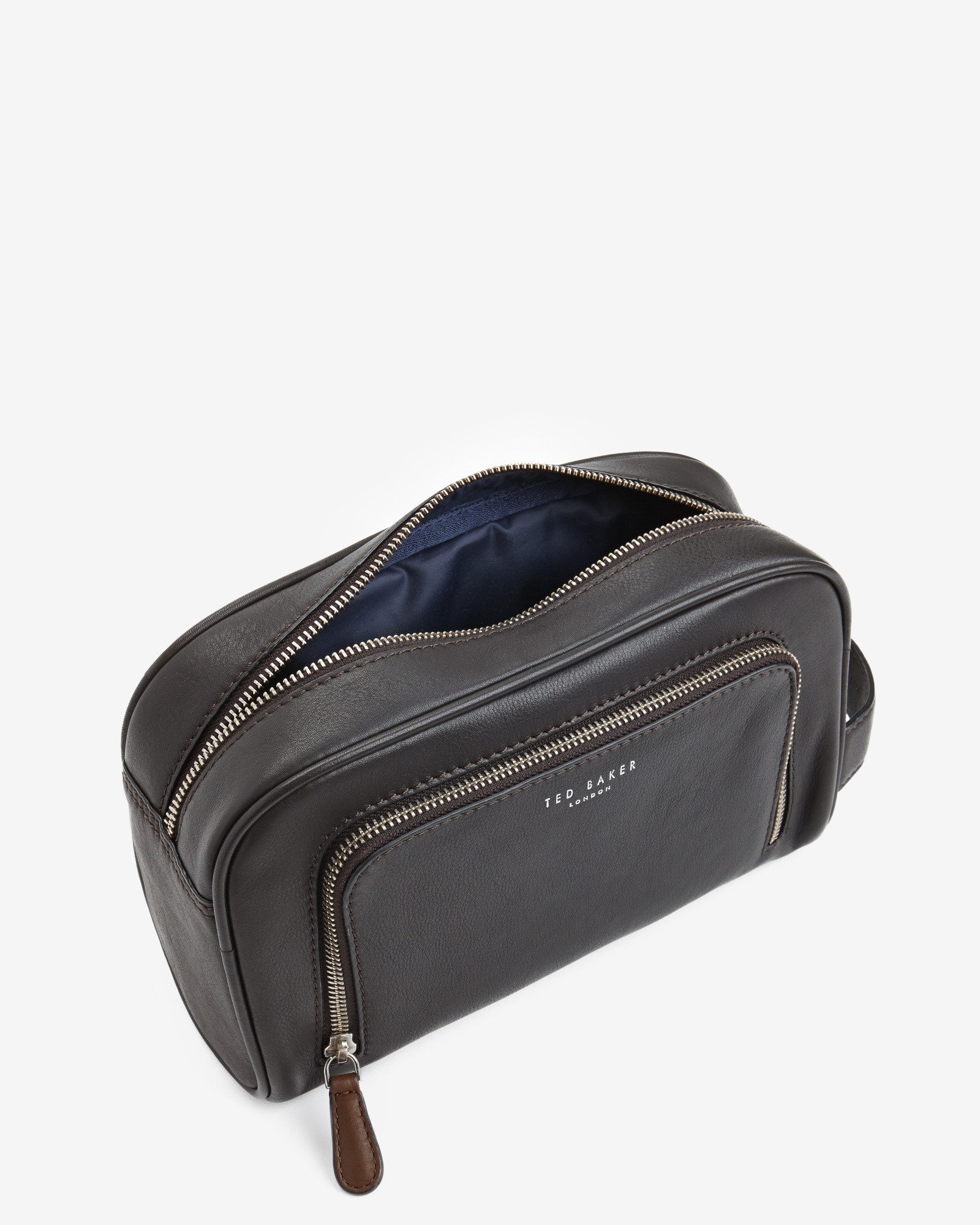 dc937d0b4c9b Ted Baker Zip Pocket Leather Wash Bag in Black for Men - Lyst