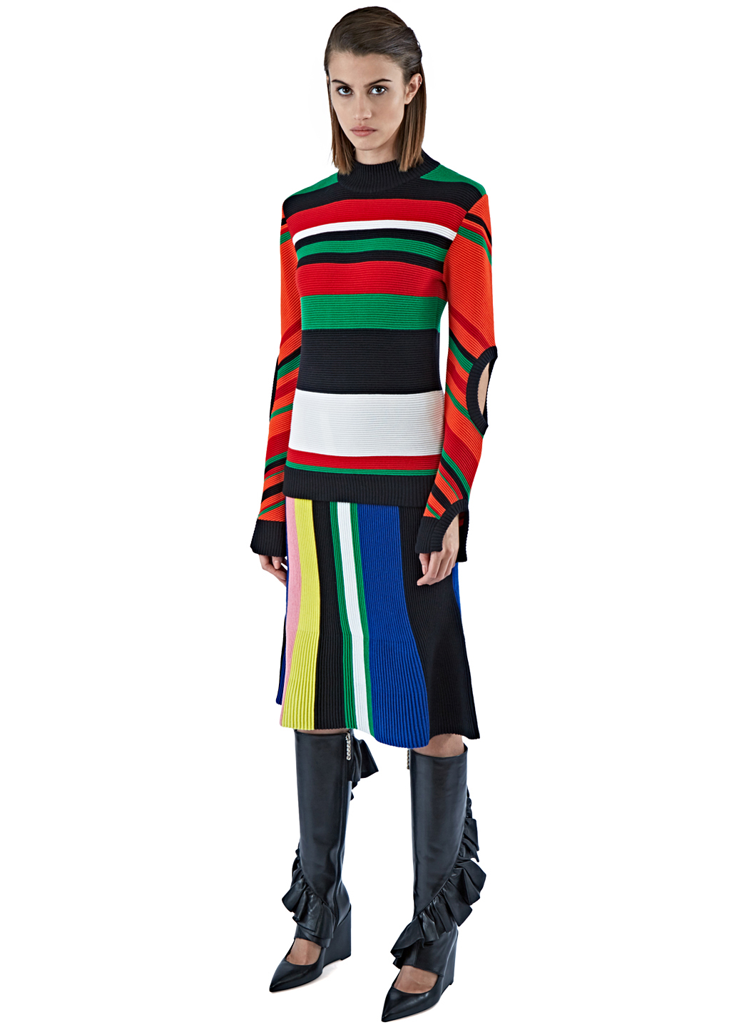 d595f5327 JW Anderson Women's Ottoman Striped Knit Skirt In Black, Pink And ...