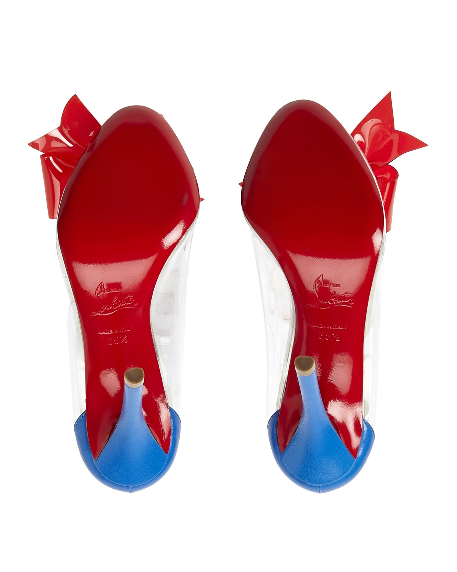645fd589344 Lyst - Christian Louboutin Clear   Red Pvc Bow Pumps in Blue