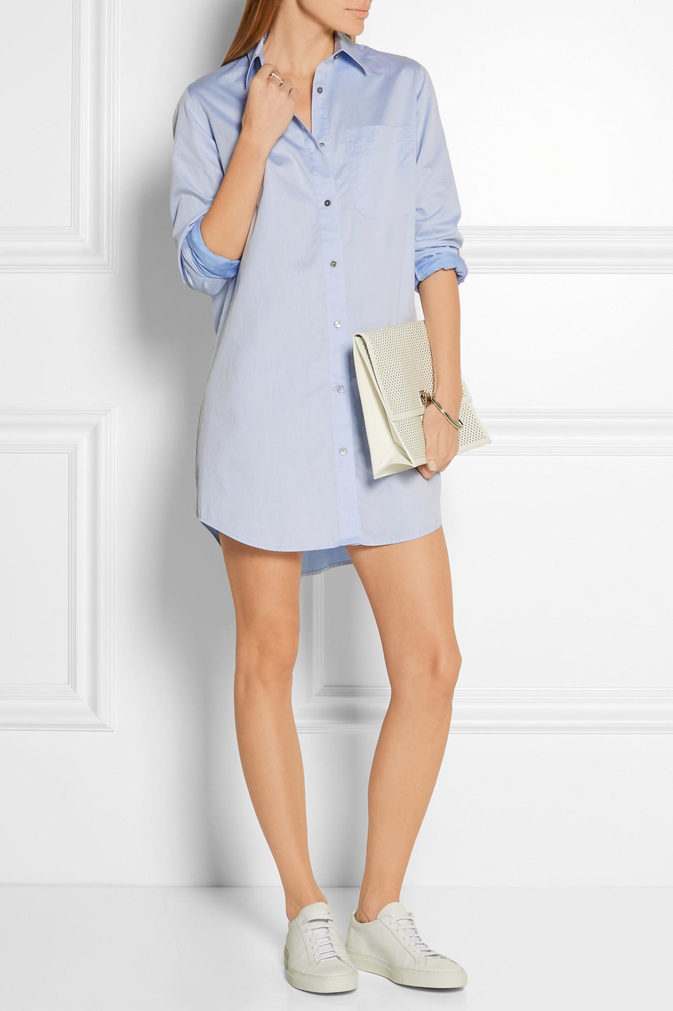 4a1b9b4d334074 T By Alexander Wang Cotton-poplin Mini Shirt Dress in Blue - Lyst