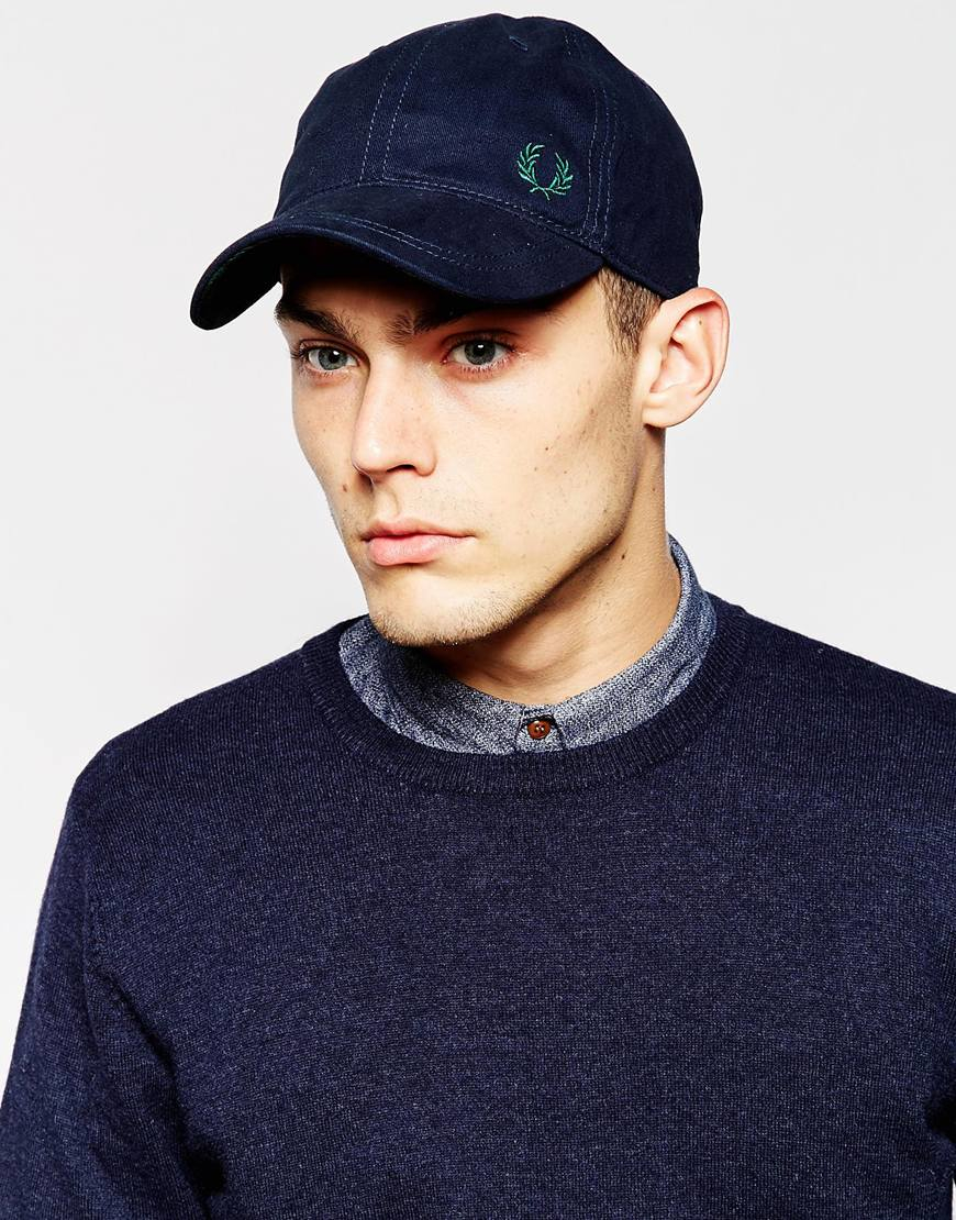 fred perry classic cap in blue for men lyst. Black Bedroom Furniture Sets. Home Design Ideas