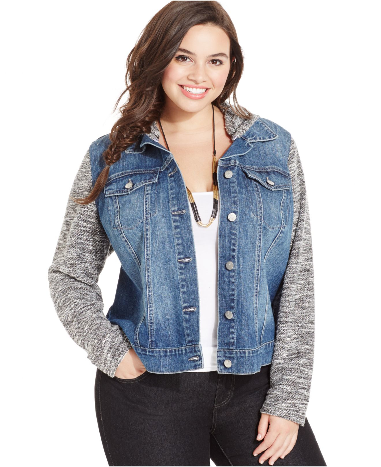 Jessica simpson Plus Size Knit-contrast Denim Jacket in Blue | Lyst
