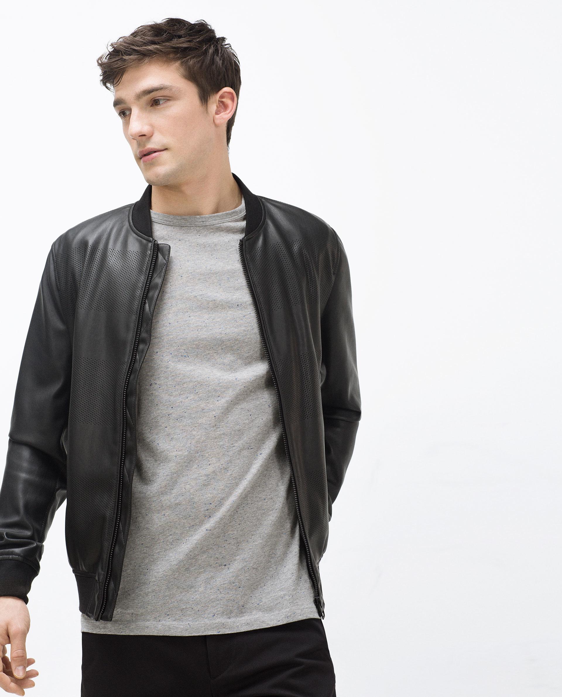 Zara Faux Leather Bomber Jacket in Black for Men | Lyst