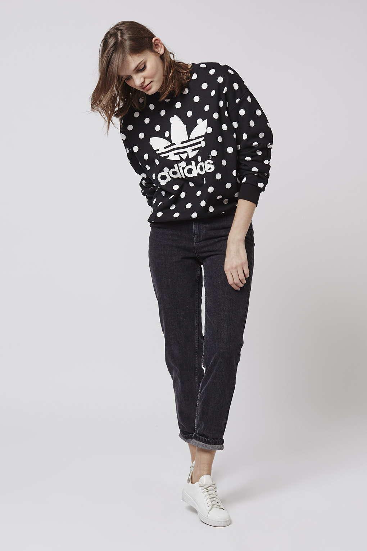 topshop polka dot trefoil sweatshirt by adidas originals. Black Bedroom Furniture Sets. Home Design Ideas