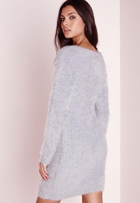 cdc1d1117066 Missguided Fluffy V Neck Off Shoulder Dress Grey in Gray - Lyst