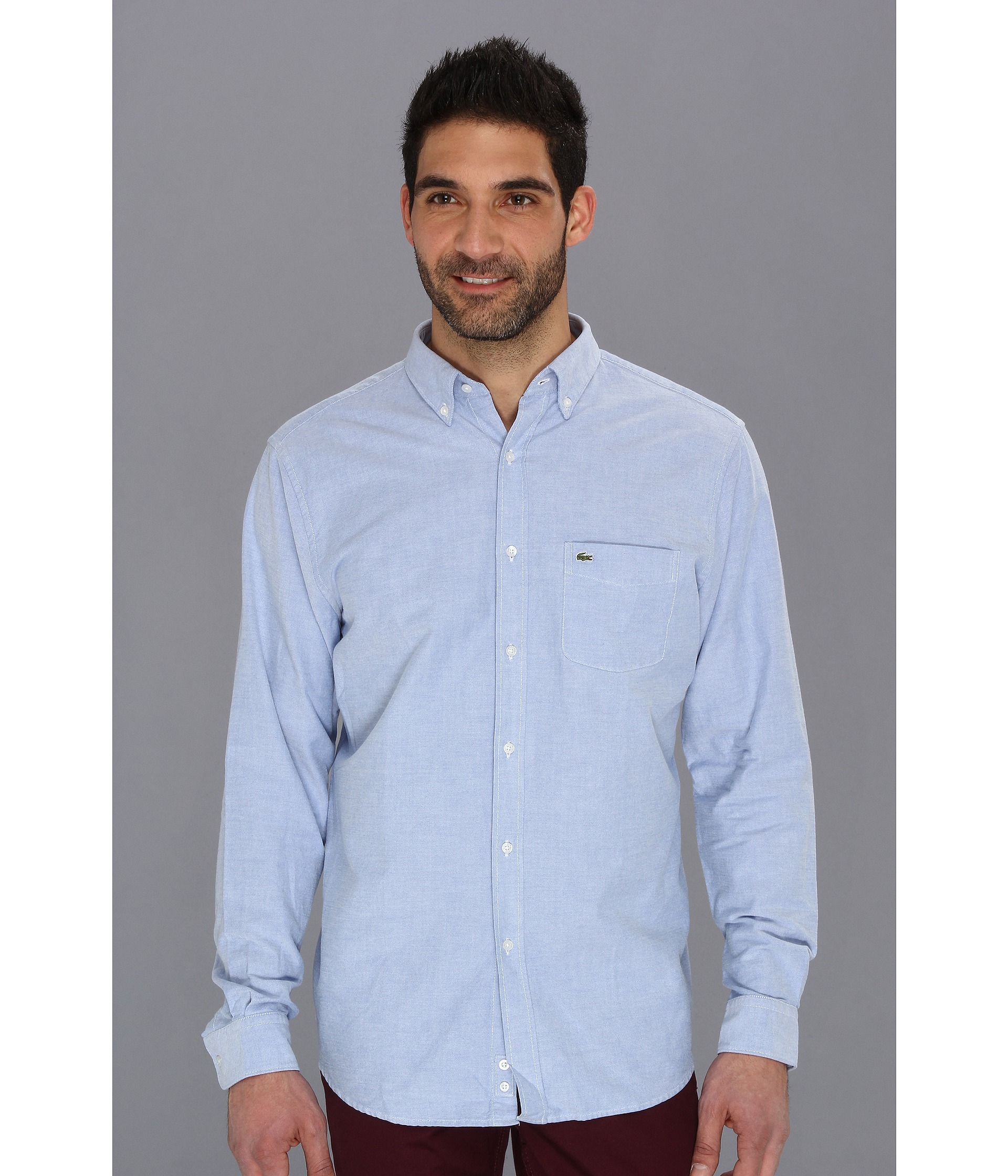 Lacoste Long Sleeve Button Down Oxford Woven Shirt in Blue for Men ...