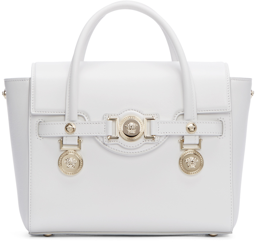 99308a2c70f3 Lyst - Versace White Leather Medusa Medallion Satchel in White