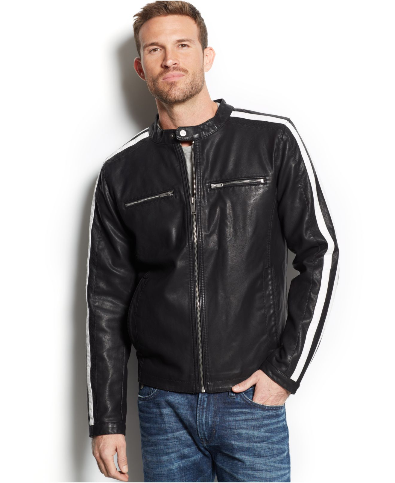 Lyst Guess Striped Faux Leather Moto Jacket In Black For Men