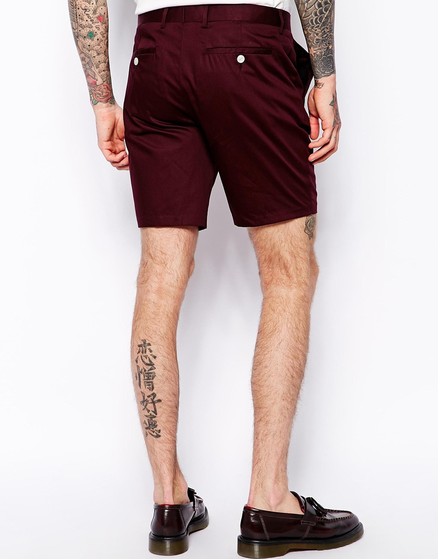 Asos Slim Fit Shorts In Burgundy in Red for Men | Lyst