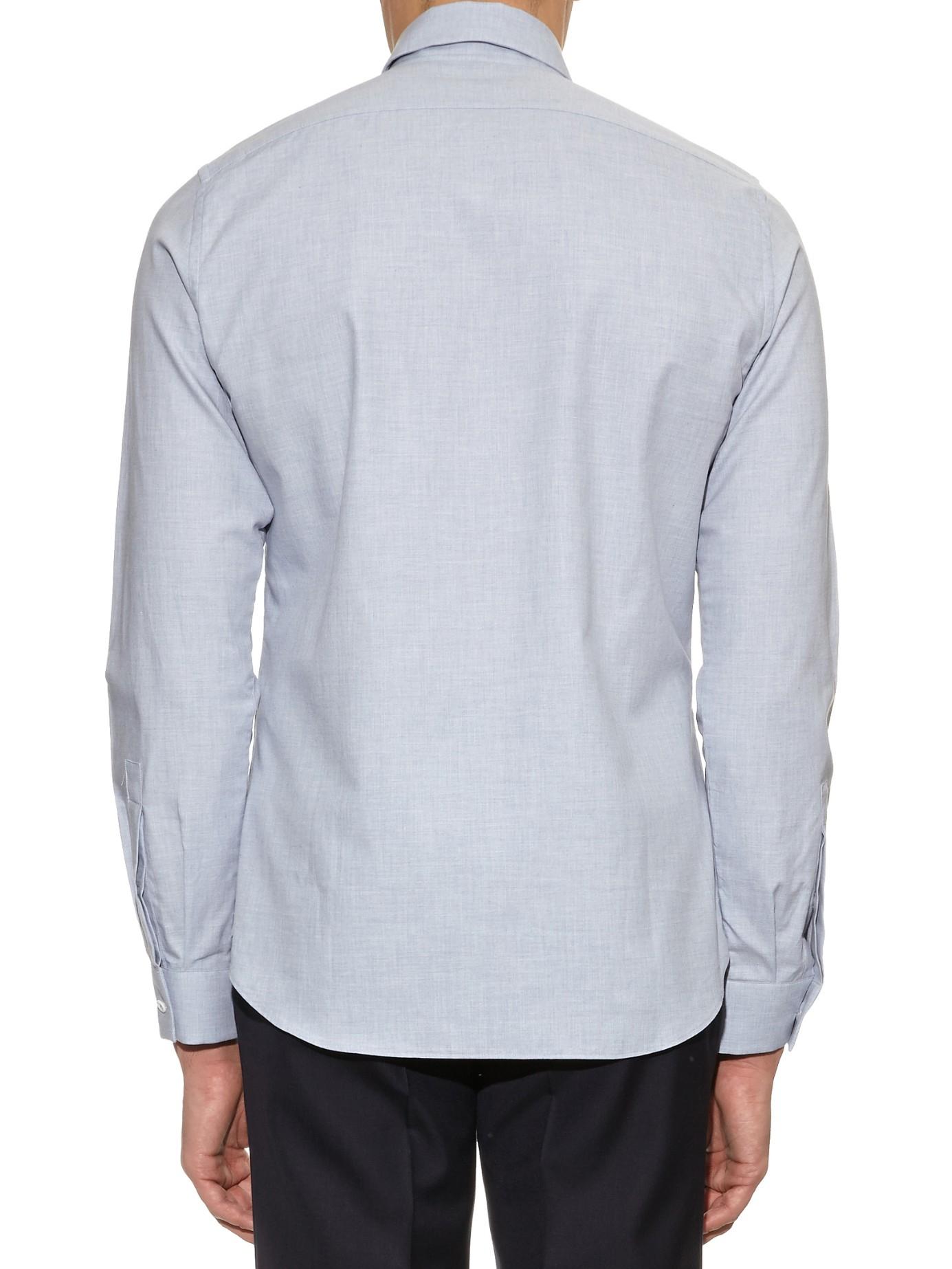 Lyst mathieu jerome hidden button down collar cotton for Hidden button down collar shirts