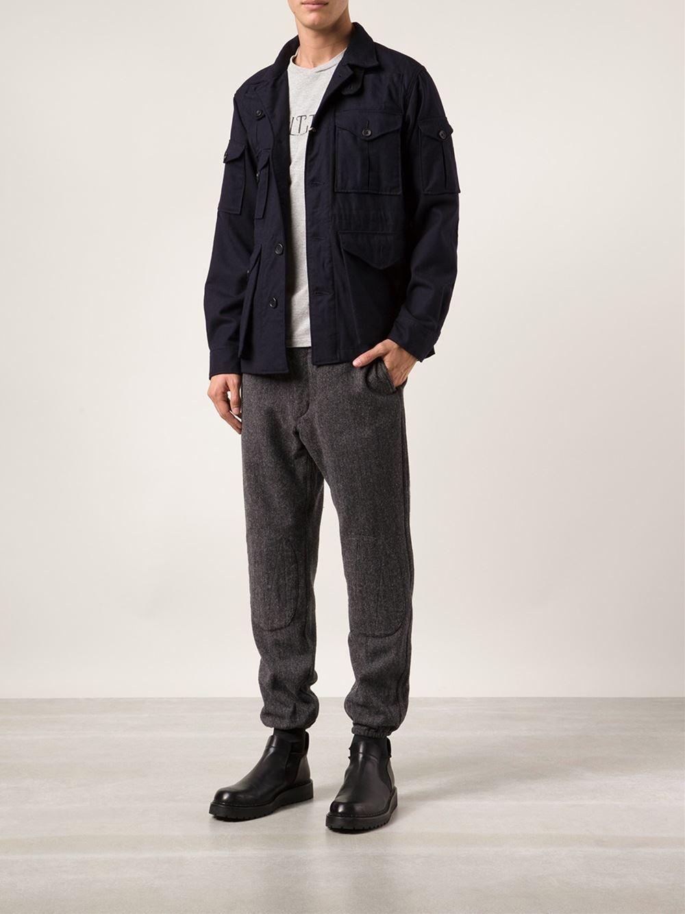 Engineered Garments Herringbone Print Trousers In Gray For Men Lyst